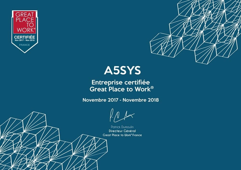 A5sys certifiée Great Place To Work